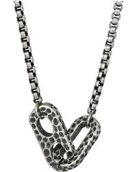 Steve Madden - 26+2 Interlocking Oval Design Rolo Chain Necklace In Oxidized Stainless Steel (silver) Necklace - Lyst