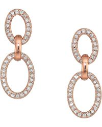 Lauren by Ralph Lauren - Crystal Pave Link Drop Earrings (rose Gold) Earring - Lyst