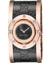Gucci - Twirl Black Rose Pvd & Black Calf Gg Leather - Lyst