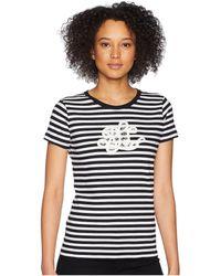 Lauren by Ralph Lauren - Monogram Striped T-shirt (polo Black/soft White) Women's T Shirt - Lyst