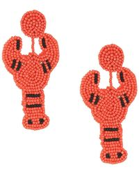 Kenneth Jay Lane - 3 Coral Seed Bead Lobster Post Earrings (coral) Earring - Lyst