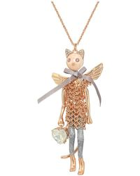 Betsey Johnson - Cat Angel Pendant Long Necklace (pink) Necklace - Lyst