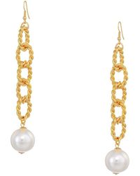 """Kenneth Jay Lane - 5"""" Gold Braided Links With Pearl Ball Drop Fishhook Earrings - Lyst"""