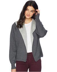 Michael Stars - Luxe Cotton Blend Reversible Hooded Cardigan (black/chalk) Women's Sweater - Lyst