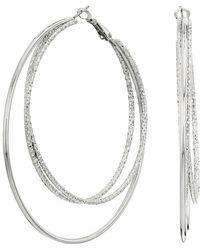 Guess - Triple Wire Clutchless Hoop Earrings (gold) Earring - Lyst
