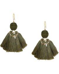 Chan Luu - Raffia Pom Pom Earrings With Dip-dye Tassels (olive) Earring - Lyst