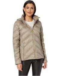 MICHAEL Michael Kors - Zip Front Short Packable M823478gka (taupe) Women's Coat - Lyst