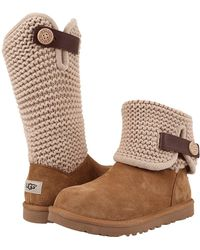 UGG - ® Shaina Knit Top Leather Strap Boots - Lyst