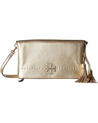 Tory Burch - Mcgraw Metallic Fold-over Crossbody (gold) Cross Body Handbags - Lyst
