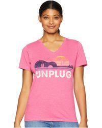 Life Is Good. - Unplug Beach Guitar Cool Vee (fiesta Pink) Women's T Shirt - Lyst