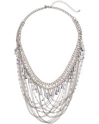 Rebecca Minkoff - Crystal And Chain Drama Necklace (silver) Necklace - Lyst