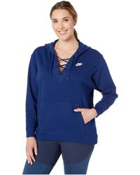 6b92928ff6ec Nike - Plus Size Nsw Club Hoodie Lace-up (blue Void blue Void