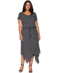 Lauren by Ralph Lauren - Plus Size Handkerchief-hem Short Sleeve Dress (polo Black/soft White) Women's Dress - Lyst