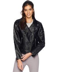 Members Only - Pu Biker W/ Multi Studs (black) Women's Coat - Lyst