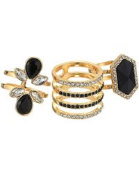 Guess - 3 Piece Cocktail Ring Set (gold/jet) Ring - Lyst