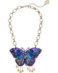 Betsey Johnson - Purple Butterfly Statement Pendant Necklace (purple) Necklace - Lyst