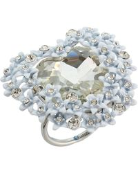 Betsey Johnson - Blue By Silver With Crystal And Flower Accented Heart Ring (crystal) Ring - Lyst