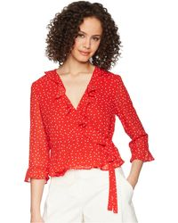 Bardot - Spotty Wrap Top (berry Spot) Women's Clothing - Lyst