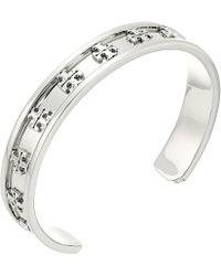Tory Burch - Raised Logo Cuff Bracelet (tory Silver) Bracelet - Lyst