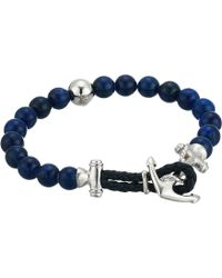 Steve Madden - Lapis Bead Bracelet With Anchor Hook Closure In Stainless Steel (blue/silver) Bracelet - Lyst