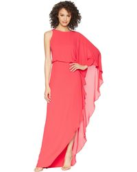 Halston - Flowy One Sleeve Round Neck Gown W/ Back Cowl (rose Red) Women's Dress - Lyst
