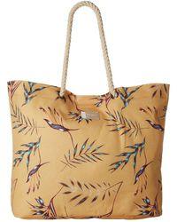 Roxy - Tropical Vibe Printed Beach Bag (buff Yellow Swim Stormy Flowers) Tote Handbags - Lyst