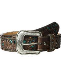 Ariat - Floral Embossed Turquoise Underlay Belt (brown) Men's Belts - Lyst