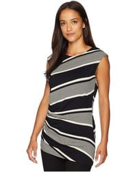 Vince Camuto - Cap Sleeve Side Ruched Venue Stripe Top (rich Black) Women's Clothing - Lyst