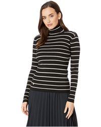 Lauren by Ralph Lauren - Striped Turtleneck Sweater (polo Black/mascarpone Cream) Women's Sweater - Lyst