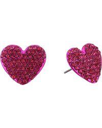 Betsey Johnson - Fuchsia Heart Stud Earrings - Lyst