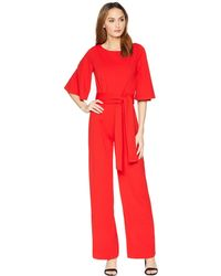 Alexia Admor - 3/4 Sleeve Boat Neck Jumpsuit (red) Women's Jumpsuit & Rompers One Piece - Lyst