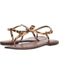 8e68270ac4332e Lyst - Sam Edelman Gigi Flecked Cork Flat Thong Sandal in Brown