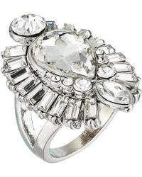 Guess - Stone Framed Teardrop Cocktail Ring (silver) Ring - Lyst