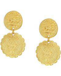 Kenneth Jay Lane - Satin Gold Textured Coin Top Drop Pierced Earrings (satin Gold) Earring - Lyst