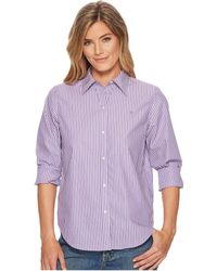 Lauren by Ralph Lauren - Cotton Button Down Shirt (lavendar/white) Women's T Shirt - Lyst