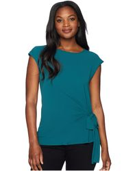 Vince Camuto - Short Sleeve Mix Media Tie Front Blouse (verdant Green) Women's Clothing - Lyst
