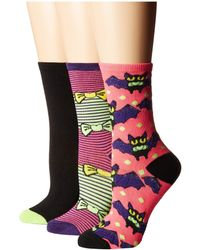 Betsey Johnson - 3-pack Halloween Crew Socks (black/pumpkin) Women's Crew Cut Socks Shoes - Lyst