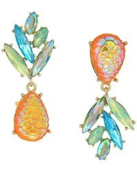 Betsey Johnson - Yellow And Gold Tone Perfect Non-matching Pineapple Earrings (yellow) Earring - Lyst