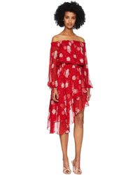 8e25a2044b5b Whistles Rosie Lace Panel Dress in Red - Lyst