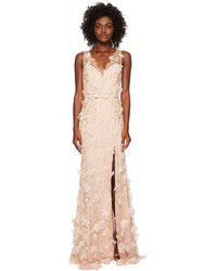 Marchesa notte - V-neck Embroidered Gown W/ 3d Chiffon Flowers And Front Slit And Velvet Waistband (blush) Women's Dress - Lyst