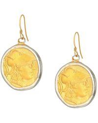 Kenneth Jay Lane - Rhodium/satin Gold Coin Fishhook Earrings (silver/satin Gold) Earring - Lyst