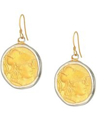 Kenneth Jay Lane | Rhodium/satin Gold Coin Fishhook Earrings | Lyst
