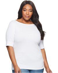 Lauren by Ralph Lauren - Plus Size Stretch Cotton Boat Neck Tee (white) Women's T Shirt - Lyst