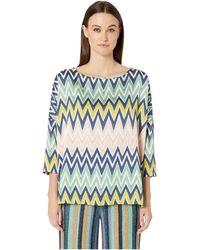 M Missoni Boat Neck 3/4 Sleeve Silk Top In Zigzag Print - Blue