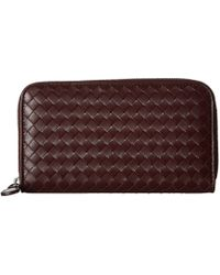 Bottega Veneta - Intrecciato Zip Around Wallet (aqua) Wallet Handbags - Lyst