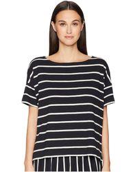 Eileen Fisher - Bateau Neck Box-top (black/white) Women's Clothing - Lyst