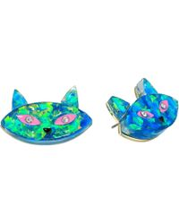 Betsey Johnson - Green Cat Stud Earrings - Lyst