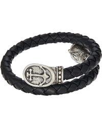 ALEX AND ANI - Anchor Braided Leather Wrap Bracelet (rafaelian Silver) Bracelet - Lyst