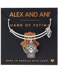 ALEX AND ANI - Path Of Symbols-hand Of Fatima Iii Bangle (rafaelian Silver) Bracelet - Lyst