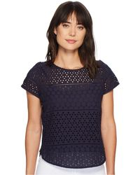 Joules | Nadine Broderie Front/jersey Back Top | Lyst